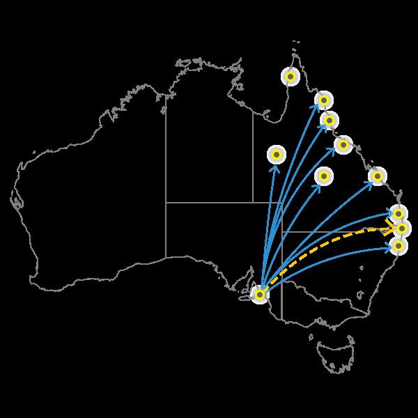 Adelaide to Brisbane