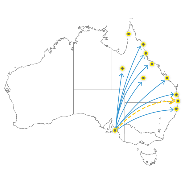 Adelaide to Brisbane
