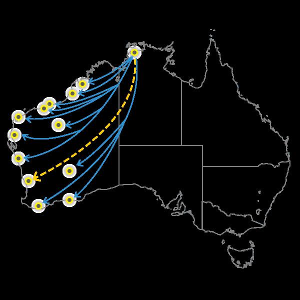 Darwin to Perth
