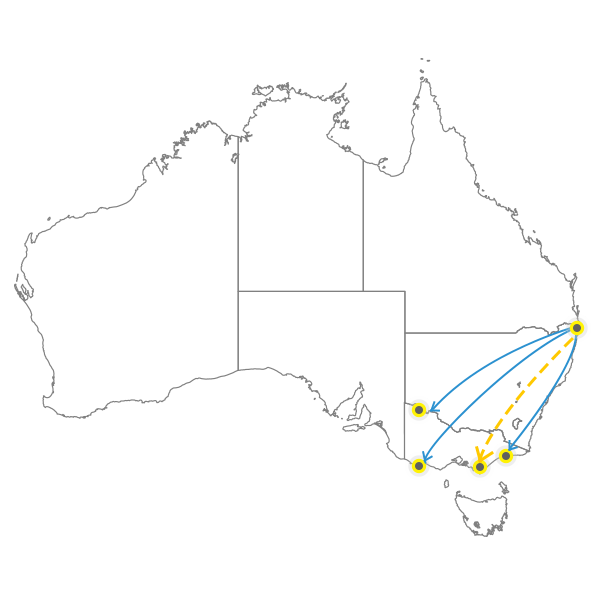 Brisbane to Melbourne