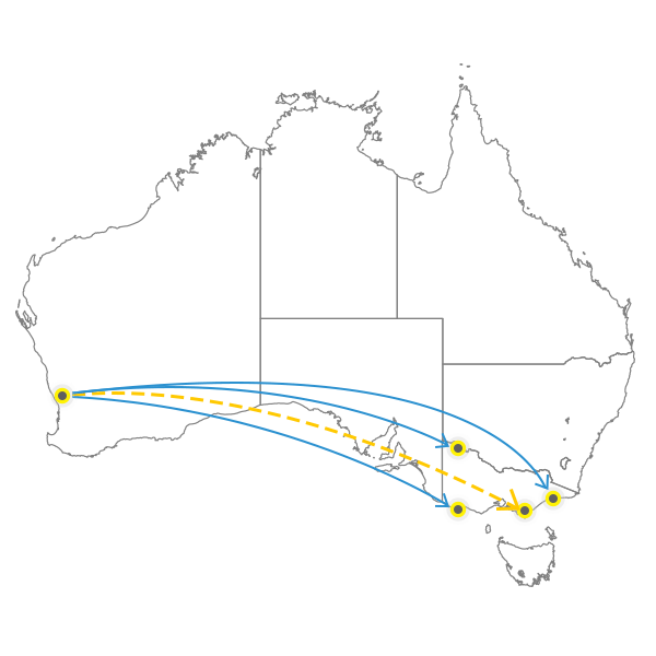 Perth to Melbourne