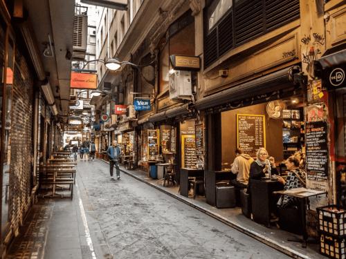 Cafes down a Melbourne street