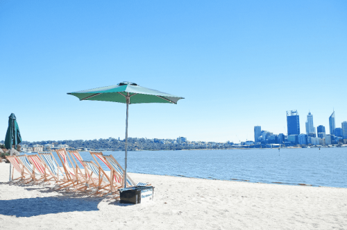beach view of Perth city