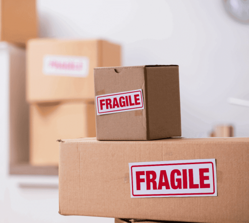 Stacks of boxes labelled fragile
