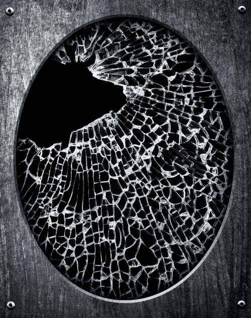 shattered oval mirror