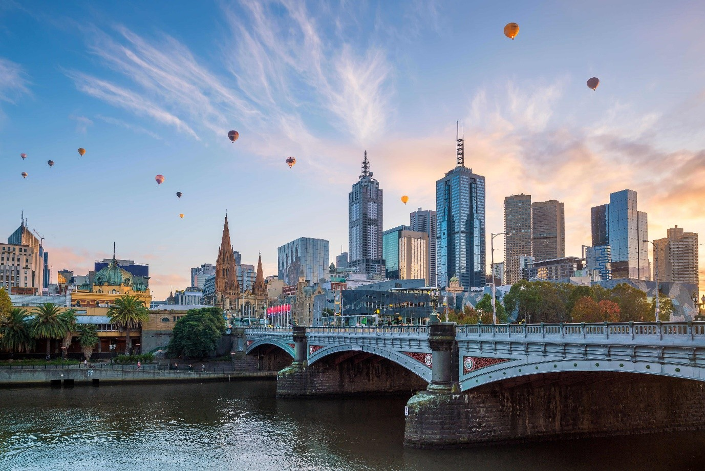 View of Melbourne CBD over the Yarra river